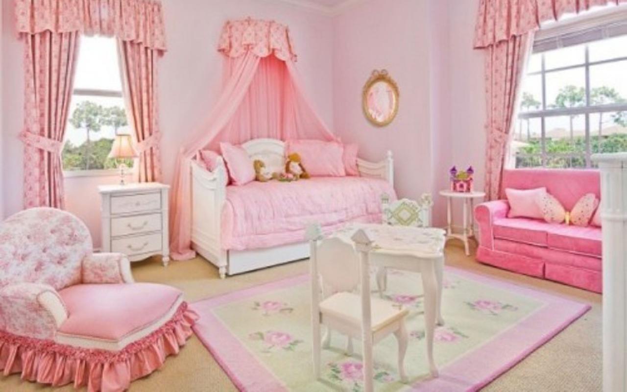 صورة اجمل غرفة بنات في العالم , غرف نوم للبنات باللون الوردى 1298 9