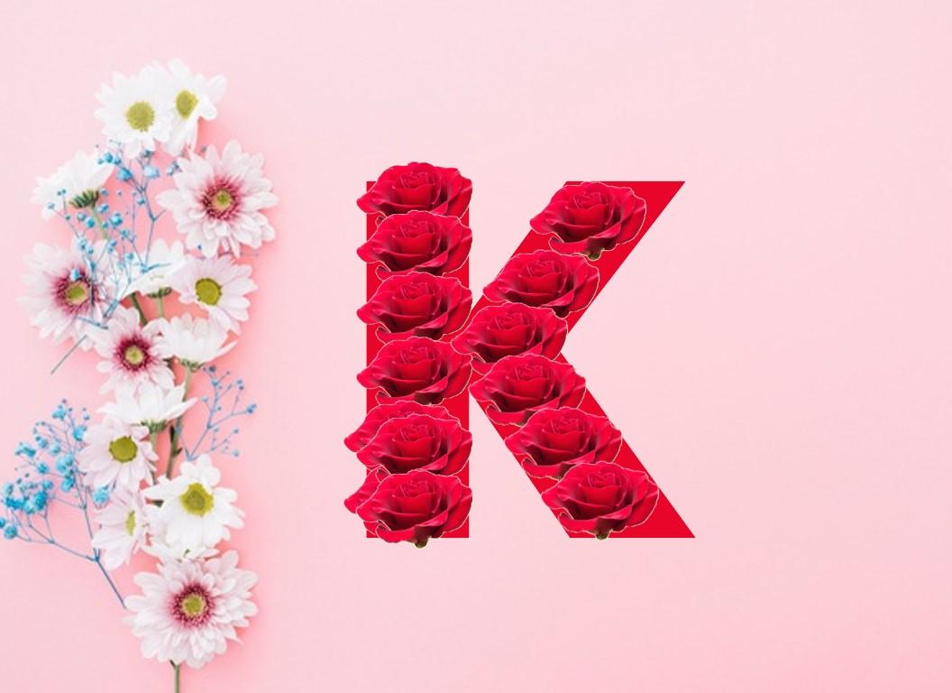 حرف K مكتوب عليها رمزيات رومانسيه بالانجليزى لحرف K افخم فخمه